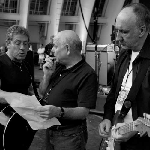 Roger Daltrey, stage sound engineer Bobby Pridden and Pete Townshend talk about The Who's setlist during the rehearsal/soundcheck before their show at The Hollywood Bowl in Los Angeles, CA on November 4, 2006.