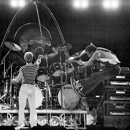 "Roger Daltrey, Kenny Jones and Pete Townshend at the climax of ""Won't Get Fooled Again"" during The Who's performance at The Tangerine Bowl in Orlando, FL on November 27, 1982."