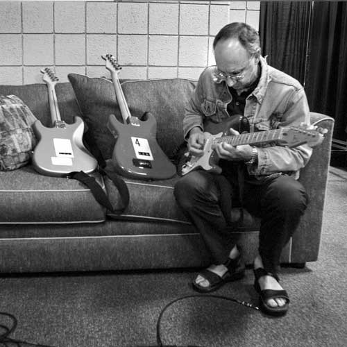 Pete Townshend checks out some new guitars in his dressing room before The Who perform at The Palace in Detroit, MI  on June 27, 2000.