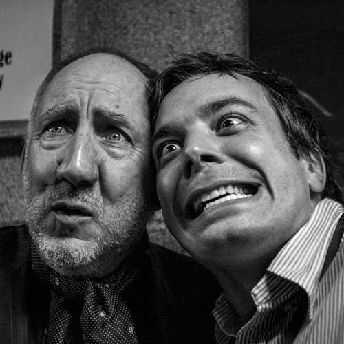 Pete Townshend and Jimmy Fallon have some fun posing for photos backstage after The Who's performance at Madison Square Garden on September 19, 2006.